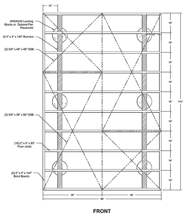 wood shed foundation diagram