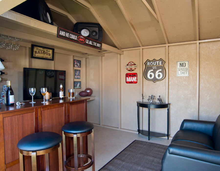 man cave office shed interior